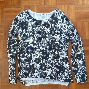 Old Navy Black and White Floral Sweater